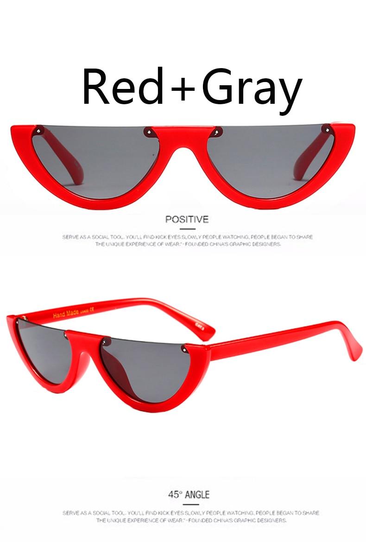 Transparent Cat eye Women Sunglasses Brand Designer Ladies Half Frame Sunglasses Women Gradient Lens Male Female Eyewear UV400