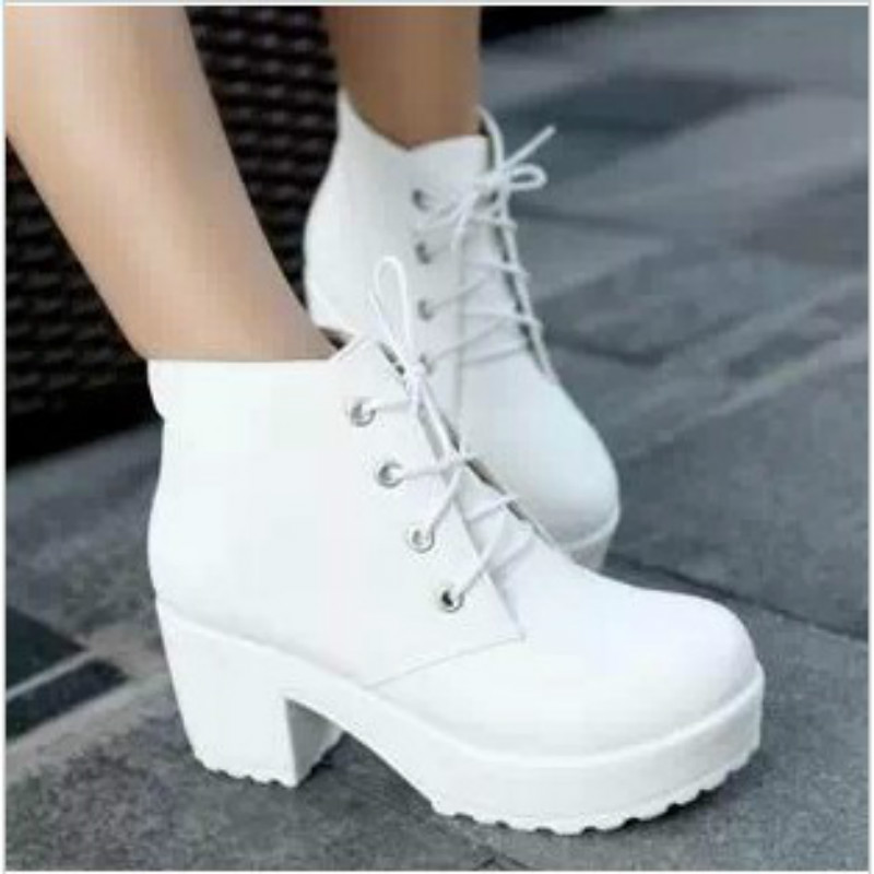 New 2017 Thick High Heels Black Ankle Boots white For Women Sexy Boots Winter Shoes Platform Boots martin calzado mujer<br><br>Aliexpress