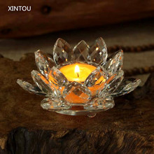 XINTOU Crystal Lotus Flower Candle Holders Fengshui Clear Glass Bowl Candle Stand Holder Weddings centerpieces Home Decoration