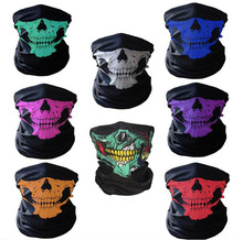 High Quality Halloween Skull Party Black Mask Neck Scary Masks Motorcycle Multi Function Headwear Mask Masquerade Mardi Gras R28