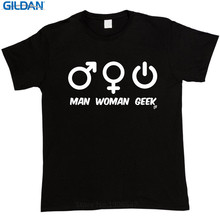 Shirt Shop Gift O-Neck Short-Sleeve Man Woman Geek Sex Symbol Power Button Shirts For Men(China)