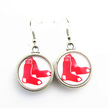 New Arrivals Glass Boston red sox Team Logo Earrings 5pair/lot Double MLB Baseball Drop Earrings For Fans Jewelry(China)