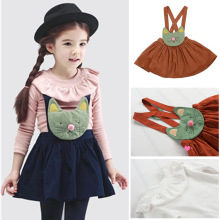 baby Girl Clothes Autumn Spring Two Piece Kids Suspenders Skirt Long Sleeved T-shirt Children Sets Girl Cartoon Cat Hello Kitty