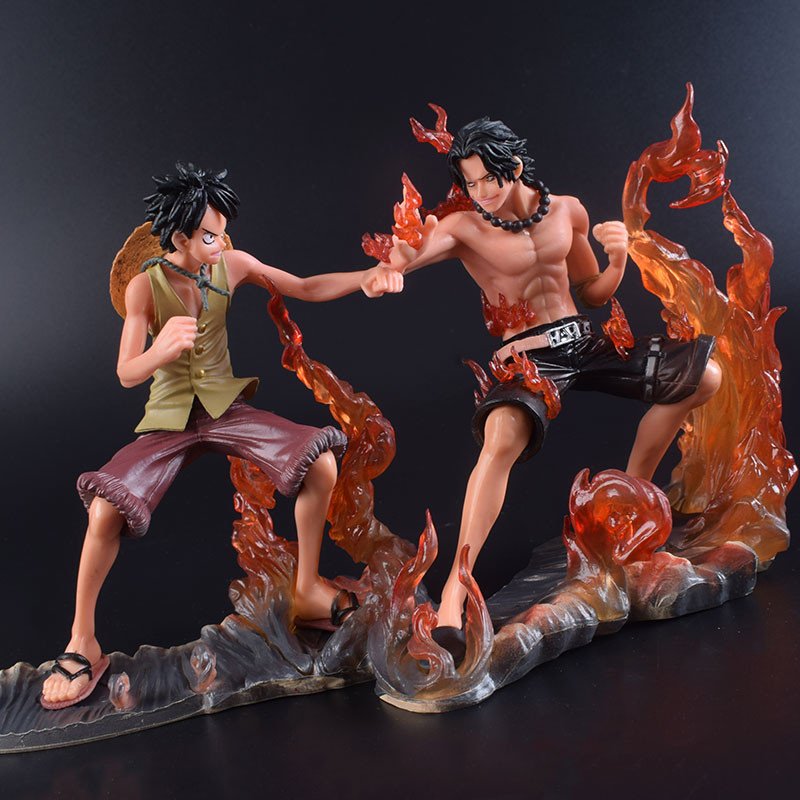 2PCS/Set 17cm Naruto Action Figure Japan Anime Uzumaki Shippuden Luffy VS Ace Cartoon battle of Portgas+Monkey D Luffy<br>