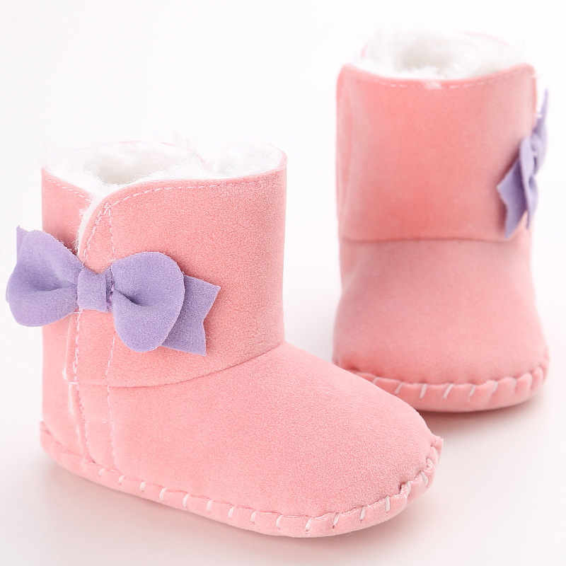 Winter Baby Girl Shoes Bowknot Warm Soft Soles Non-slip Baby First Walkers 0-18 months Infant Girl Snow Boots Crib Shoes(China)