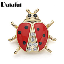 Lovely Enamel Ladybug Beetle Collar Brooch Pin Crystal Cute Clothes Accessories Brooches For Gift Z019(China)