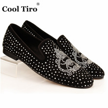 COOL TIRO Strass Men Loafers Black Suede Crystal Rhinestones Slippers Party Wedding Dress Shoes Men's Flats Leather Spider Many(China)