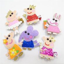 12pcs/lot Glitter Felt Cartoon Animal Hair Clip Cute Dancing Ballet Pig Barrette Sweet Elephant Easter Rabbit Hairpin Girls Grip