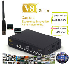 FREESAT V8 super receiver+wifi adapter+1year europe cccam+scart to av support receptor iptv bisskey powervu freesat v8 receiver