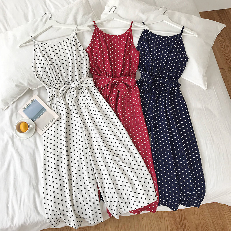 2019 Summer Ladies playsuit Vocational Casual Jumpsuit Mid-calf High Waist Women Suspended Polka Dot Rompers