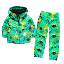 Fashion girls hoodie tracksuit two piece warm fleece waterproof jacket girls rain coats suits kids
