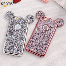 KISSCASE 3D Mickey Mouse Silicone Case For iPhone 6 6s Plus 7 7 Plus 5 5s SE X Cases Fashion Bling Glitter Ultra Soft TPU Cover(China)