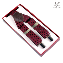 Kangdai 2017 modern men's suspenders/belt/bretelles/tirantes/accessories with dot red clips 3 clips straps Y back suspenders/A3
