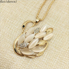 Kuziduocai 2017 New Fashion Fine Jewelry Gold Color Rhinestone Opal Shining Swan Elegant Long Necklaces Pendants For Women N-95