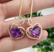 Natural amethyst pendant S925 silver Natural gemstone Pendant Necklace trendy Elegant Heart-shaped women party fine jewelry