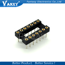 10pcs Round Hole 14 Pins 2.54MM DIP DIP14 IC Sockets 14 PIN 2.54 Adaptor Solder Type IC Connector