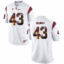 NIKE USC Trojans Troy Polamalu 43 College Printed Jersey Ice Hockey Jerseys- Red Size S,M,L,XL,XXL,3XL(China)