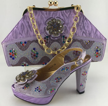 2017 Beautiful LILAC Italian shoes with matching bag,10cm dresses women pumps with rhinestone for party,free shipping ME7701