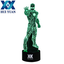 Shipping from to USA Iron Man Remote Control LED Desk Table Night Light 7 Color Touch Lamp Kids Children Family Holiday Gift(China)
