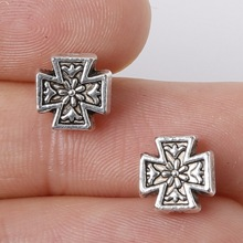 New Arrivals 8*8mm 11pcs Zinc Alloy Charms Cross Beads Antique Silver Charm Pendant Jewelry Findings Fit Jewelry DIY