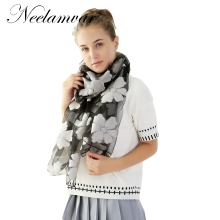 Neelamvar New Elegant Organza Silk Scarf Shawl Fashion flower Silver Grey Female Long Scarves Autumn Winter Ladies Cape(China)