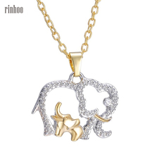 Cute Design gold color Chain Rhinestone Elephant Pendant Animal Necklace Fashion Jewelry For Gift(China)