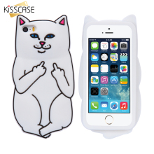 KISSCASE Soft Silicon Cat Case For iPhone 7 6 6s Plus 5 5s Cases 3D Cartoon Rubber Middle Finger Cover For iPhone 6 6s Coque