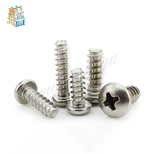 100pcs/lot M2 M2.3 M2.6 Stainless steel pan head philips self tapping screw for plastic PB(China)