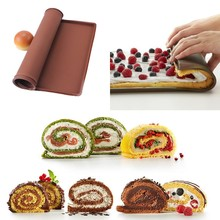 Nonstick Baking Pastry Tools Silicone Baking Rug Mat,Kitchen Accessories Silicone Mold Swiss Roll Mat Cake Pad Baking Tool D0135(China)