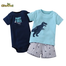 Chuya2017 Direct Selling Fashion Full New Model 3-piece For Bebes Bodysuit & Pant Set . Baby Boy Girl Summer Clothes