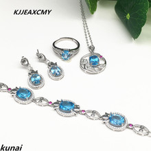 KJJEAXCMY Fine jewelry, Multicolored jewelry inlaid 925 silver female natural blue topaz set simple wholesale