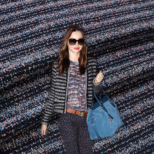 Blue color stripe twill wool woolen cloth fashion overcoat quality outerwear fabric(China)