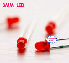 1000pcs  3mm Red LED  light emitting diode / F3  LED  Red Colour / also have 3mm Blue Green White Yellow