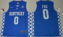 2017 NIKE Kentucky Wildcats De'Aaron Fox 0 College Elite Ice Hockey Jersey - Royal Blue Size S M L XL 2XL 3XL(China)