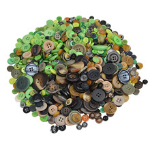 Fashion Mix Size 600pcs Mixed Green and Brown Resin Buttons Round Decor Sewing Clothing Cartoon DIY Making