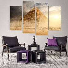 4 Pieces Canvas Art Pyramid In Sandy Area Under Dust And Gray Clouds Painting Decorations For Home Wall Art Prints Canvas\A566(China)