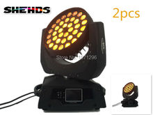 2 PCS LED Moving Head Wash Light LED Zoom Wash 36x18W RGBWA+UV Color DMX Stage Moving Heads Wash Touch Screen