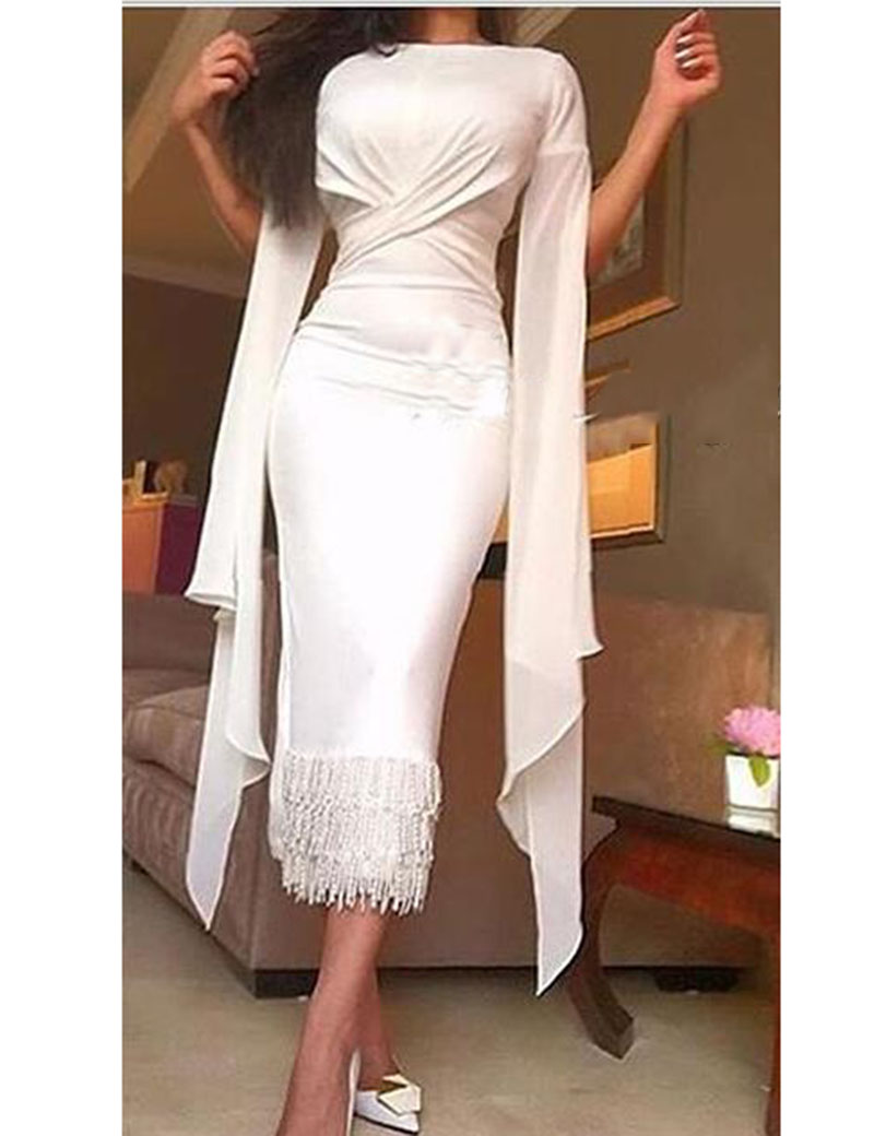 vestido Arabic White Criss_Cross Pleated Prom Straight Bateau Short Sleeves Tea Length Gowns 2018 mother of the bride dress