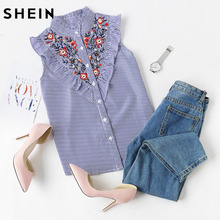 SHEIN Sleeveless Top Women Summer Women's Blouses Tops Blue Striped Ruffle Trim Embroidered Band Collar Sleeveless Blouse
