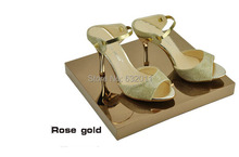 Rose gold Metal boutique shoes showing display sandals shoes display stand shoe holder keeper rack(China)