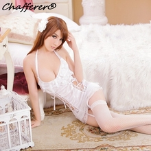 Chafferer 2017 Lace Palace Vest Garter Sexy Underwear Babydolls White Princess Sexy Lingerie Dress Hanging Neck Hollowed Pajamas(China)