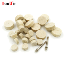 Toolfit 50pcs Abrasive Disc 25mm Rotary Tools Soft Wool Felt Polishing Buffing Round Wheel Grinding Pad with 4pcs Dia 3mm Shank(China)