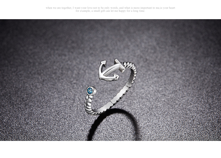 100% 925 Sterling Silver Call Of Sea Anchor with Blue Cubic Zircon Diamond Open Finger Rings