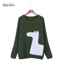 Qlychee Autumn Winter Horse Appliques Knitted Sweater Female O-neck Long Sleeve Pullover Sweater Women Casual Clothes Jumper(China)
