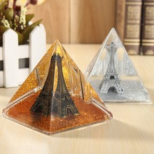 KiWarm Fashion 1PC World Architecture Pyramid Pen Stand Holder Multifunction Figurines Ornaments Home Office Decor Crafts Gift