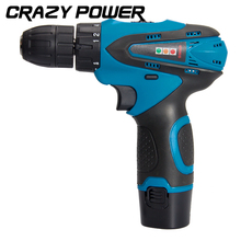 Crazy Power 12V  Electric Drill Electric Screwdriver Lithium Battery Rechargeable Parafusadeira Furadeira power tools Led light