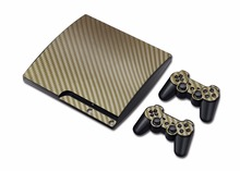 Hot Sale Gold Color Carbon Fiber Stickers Decal Skin Console 2pcs Stickers For PS3 Slim Controller(China)