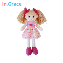 In.Grace brand cute big eyes dolls for girls with flower pattern dress and red headwear beautiful soft dolls for baby girls pink(China)