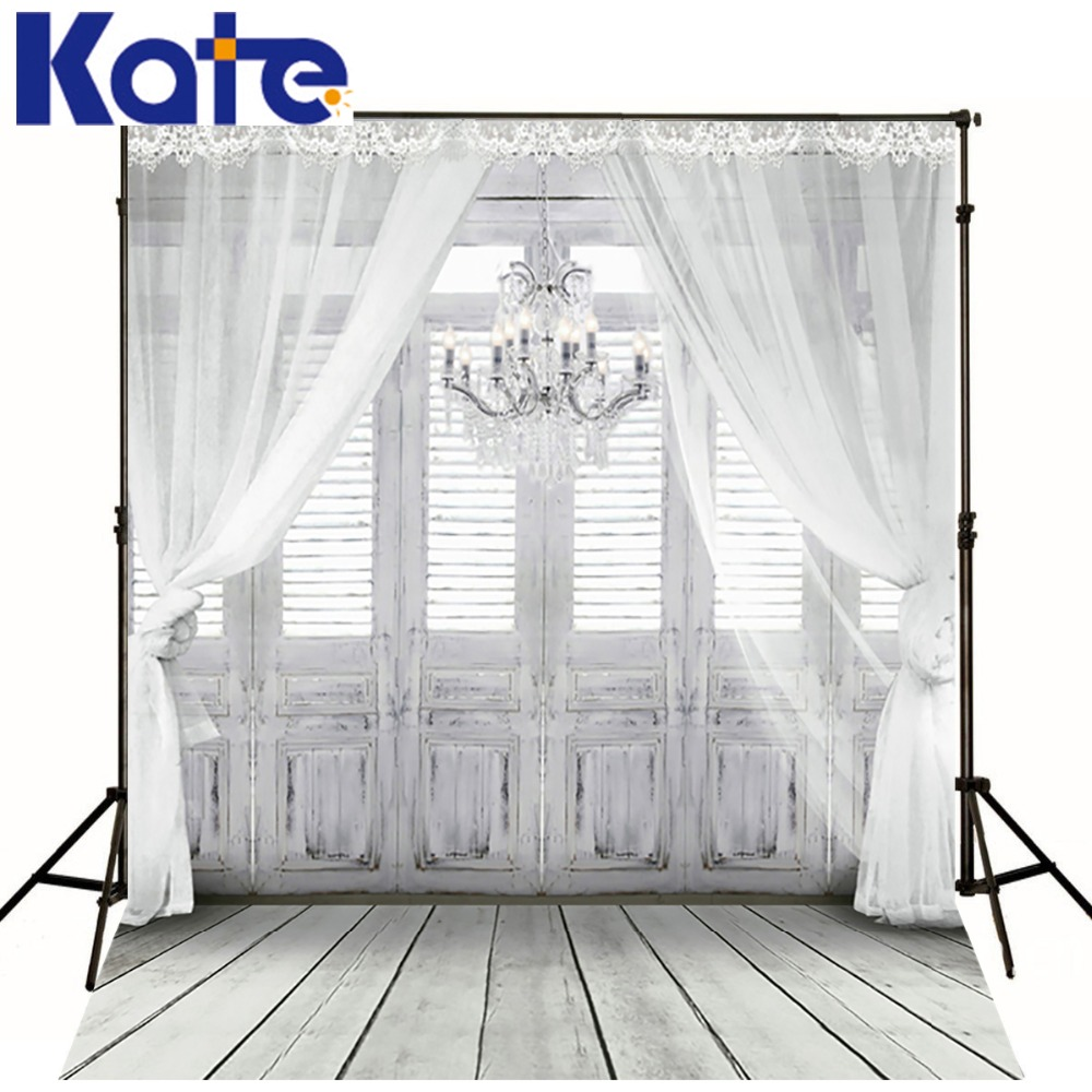 KATE 5X7FT Indoor Wood Floor Wedding Photography Newborn White Windows 3D Curtain Chandelier Backgrounds For Photo Studio<br>
