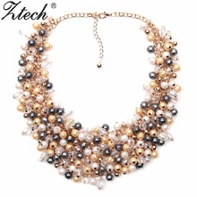 Fashion Jewelry European & American Big Temperament Popular Trendy Palace Beauty simulated pearl Necklace Statement necklace(China)